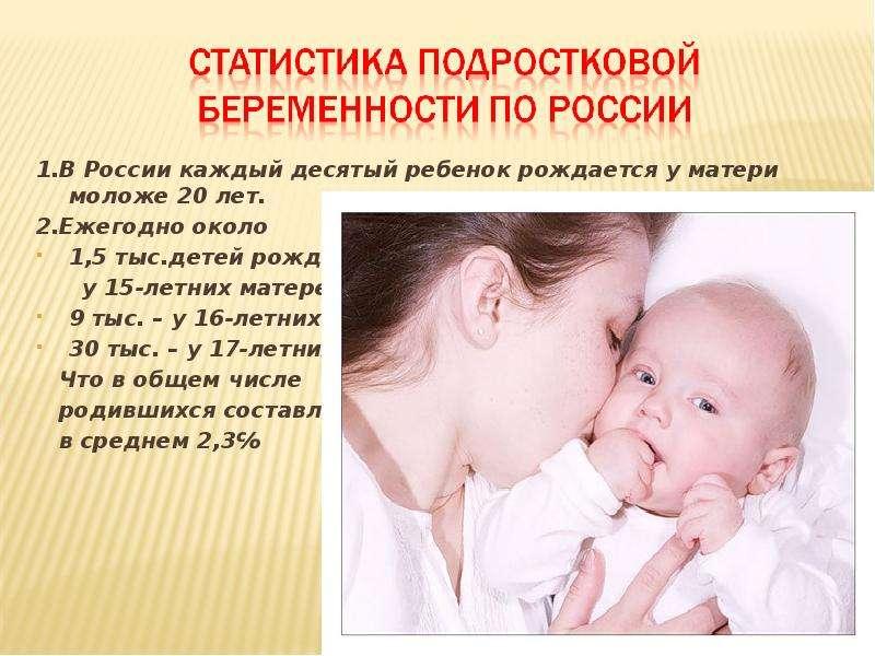 1. В России каждый десятый ребенок рождается у матери моложе 20 лет. 1. В России каждый десятый ребе