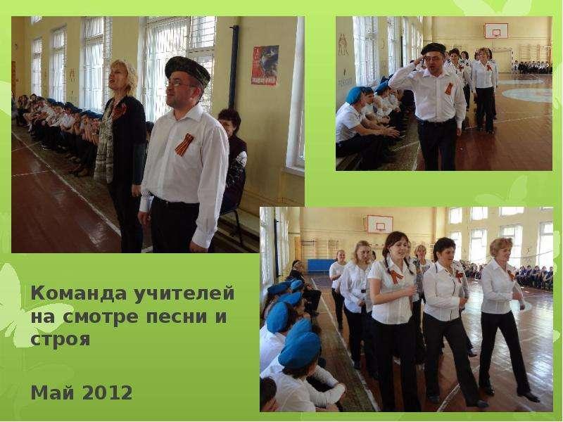 Команда учителей на смотре песни и строя Команда учителей на смотре песни и строя Май 2012