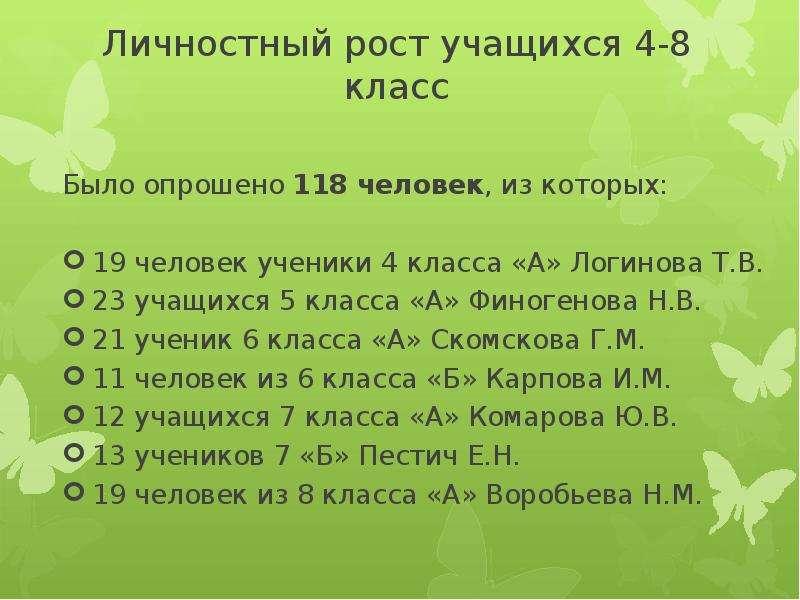 Личностный рост учащихся 4-8 класс Было опрошено 118 человек, из которых: 19 человек ученики 4 класс