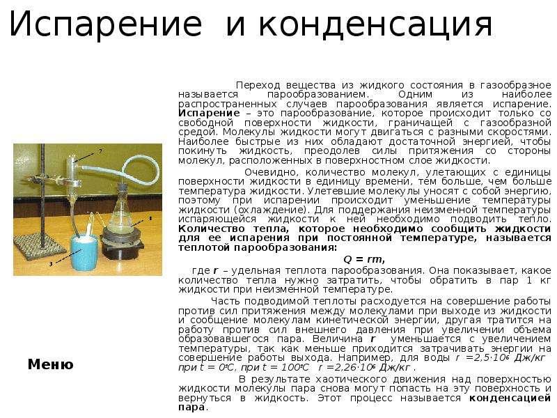Испарение и конденсация Переход вещества из жидкого состояния в газообразное называется парообразова