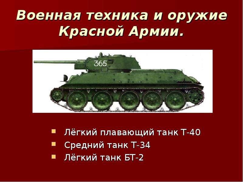 Военная техника и оружие Красной Армии. Лёгкий плавающий танк Т-40 Средний танк Т-34 Лёгкий танк БТ-