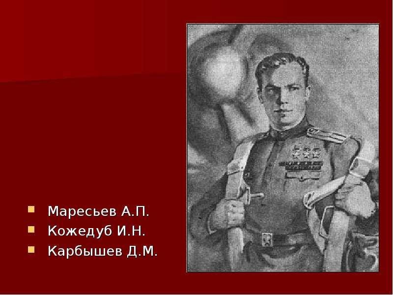 Маресьев А. П. Кожедуб И. Н. Карбышев Д. М.