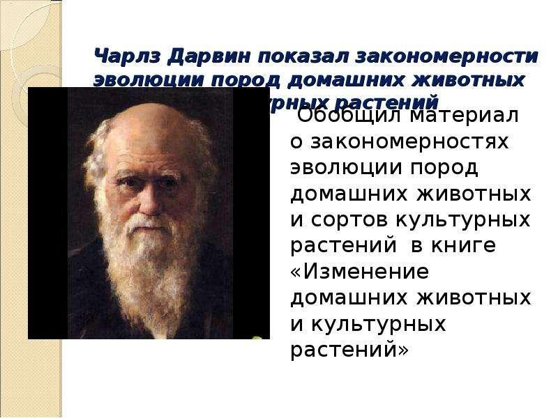 Чарлз Дарвин показал закономерности эволюции пород домашних животных и сортов культурных растений