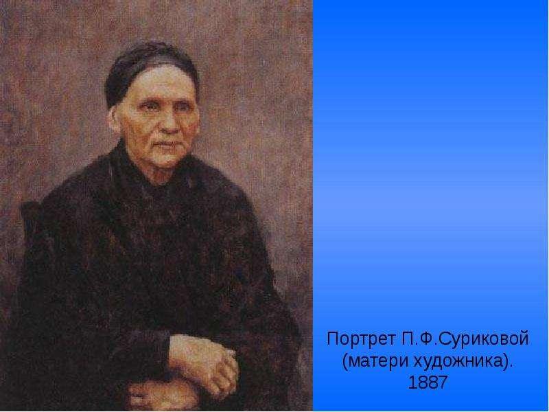 Портрет П. Ф. Суриковой (матери художника). 1887
