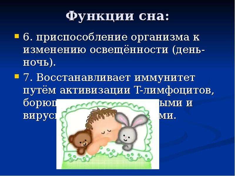 Функции сна: 6. приспособление организма к изменению освещённости (день-ночь). 7. Восстанавливает им