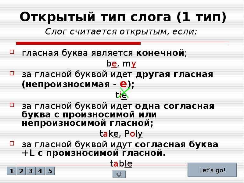Закрытые и открытые буквы в английском языке таблица