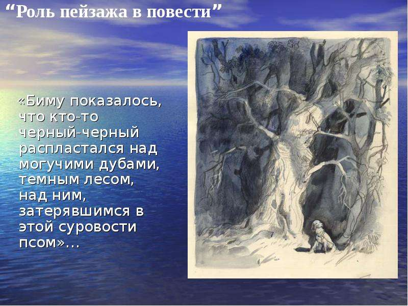 «Биму показалось, что кто-то черный-черный распластался над могучими дубами, темным лесом, над ним,