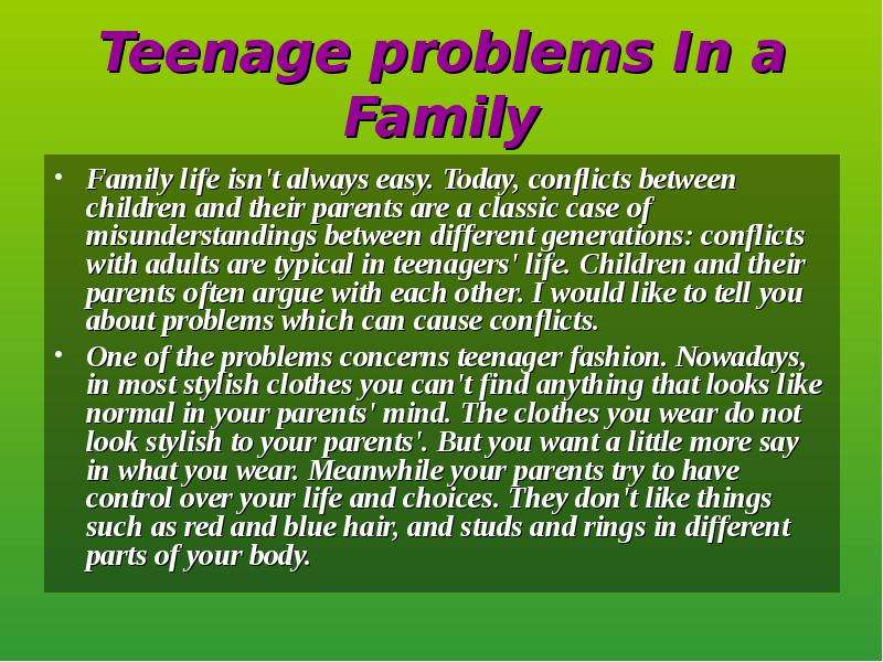 the conflicts between parents and their