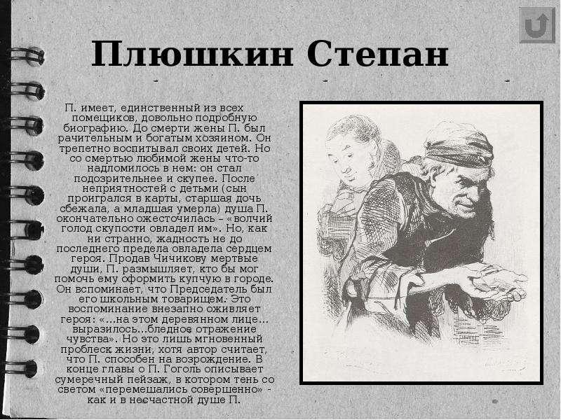 Плюшкин Степан П. имеет, единственный из всех помещиков, довольно подробную биографию. До смерти жен