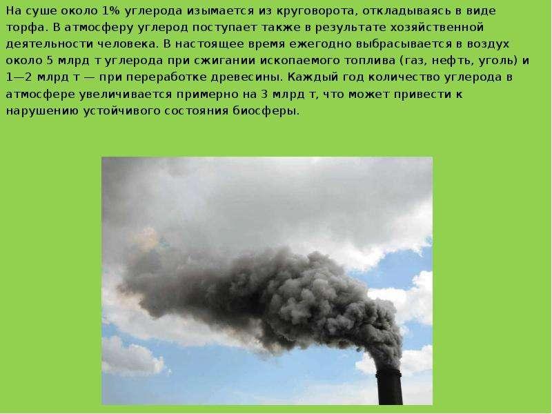 На суше около 1% углерода изымается из круговорота, откладываясь в виде На суше около 1% углерода из