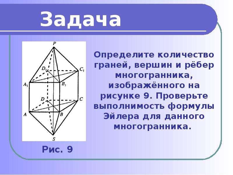 Определите количество граней, вершин и рёбер многогранника, изображённого на рисунке 9. Проверьте вы