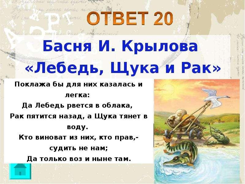 Басня И. Крылова Басня И. Крылова «Лебедь, Щука и Рак»