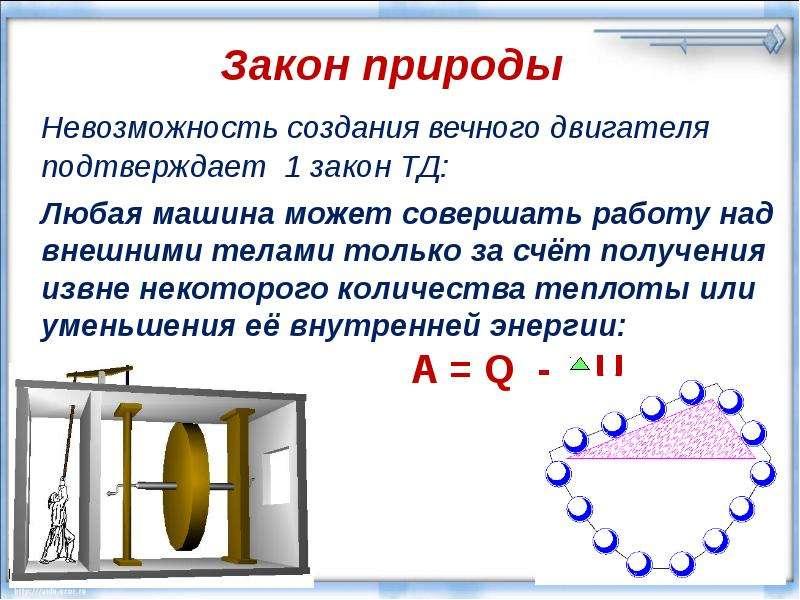 Закон природы Невозможность создания вечного двигателя подтверждает 1 закон ТД: Любая машина может с