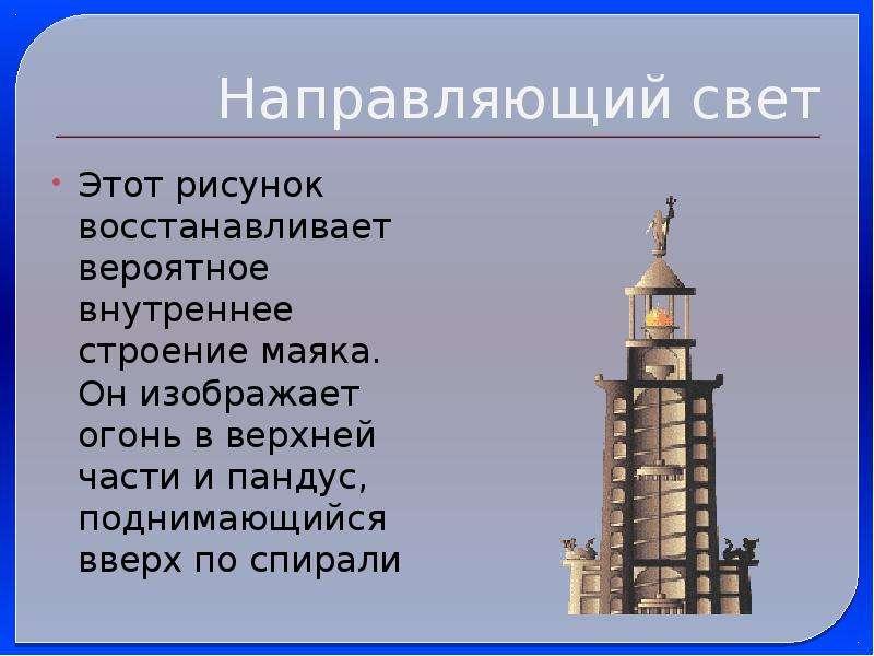 Направляющий свет Этот рисунок восстанавливает вероятное внутреннее строение маяка. Он изображает ог