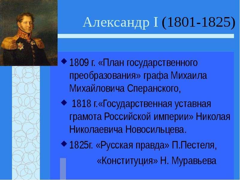 Александр I (1801-1825) 1809 г. «План государственного преобразования» графа Михаила Михайловича Спе