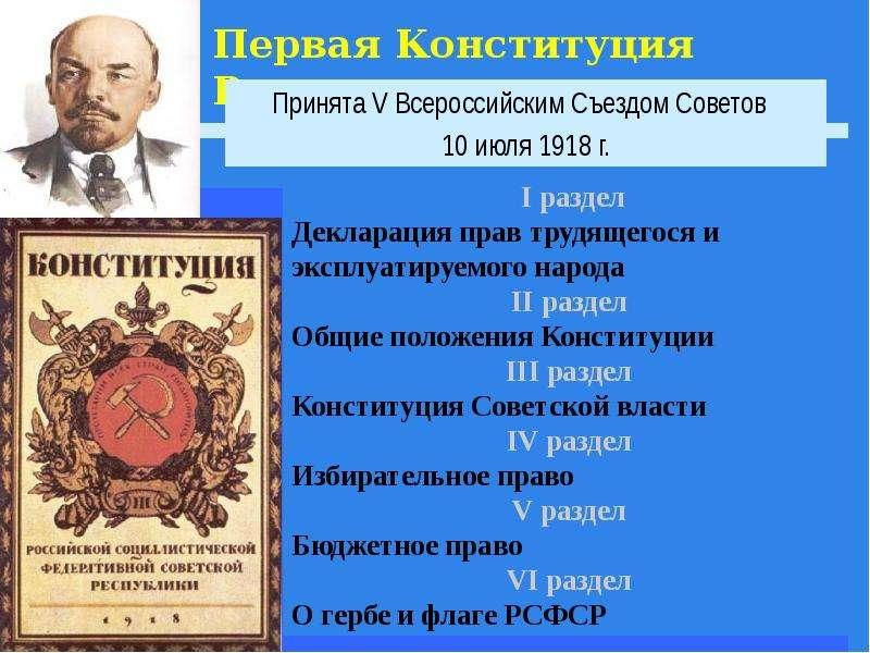 Первая Конституция России Принята V Всероссийским Съездом Советов 10 июля 1918 г.