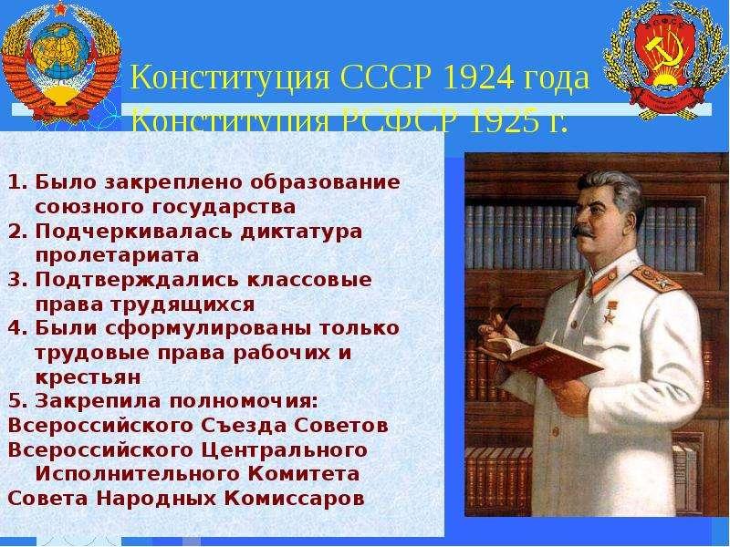 Конституция СССР 1924 года Конституция РСФСР 1925 г.