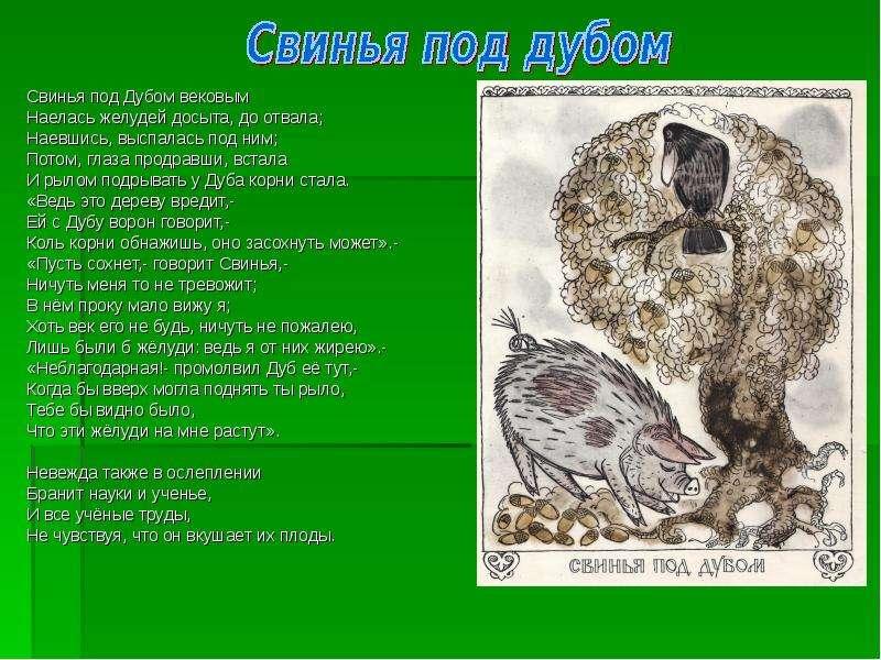 Свинья под Дубом вековым Свинья под Дубом вековым Наелась желудей досыта, до отвала; Наевшись, выспа