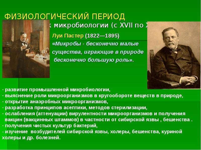 ФИЗИОЛОГИЧЕСКИЙ ПЕРИОД - золотой век микробиологии (с XVII по XIX век) Луи Пастер (1822—1895) «Микро