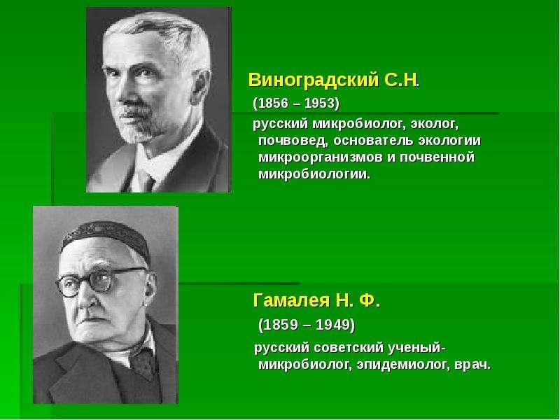 Виноградский С. Н. (1856 – 1953) русский микробиолог, эколог, почвовед, основатель экологии микроорг
