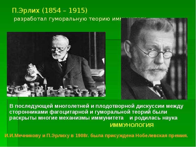 П. Эрлих (1854 – 1915) разработал гуморальную теорию иммунитета В последующей многолетней и плодотво