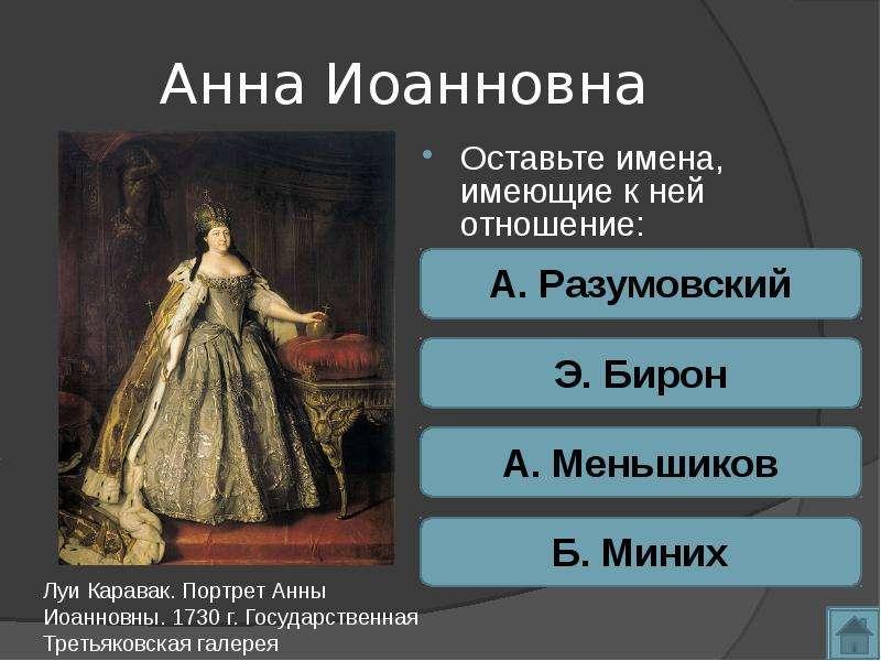 Анна Иоанновна Оставьте имена, имеющие к ней отношение: