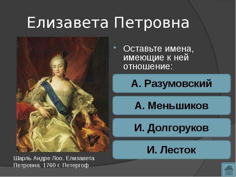 Елизавета Петровна Оставьте имена, имеющие к ней отношение: