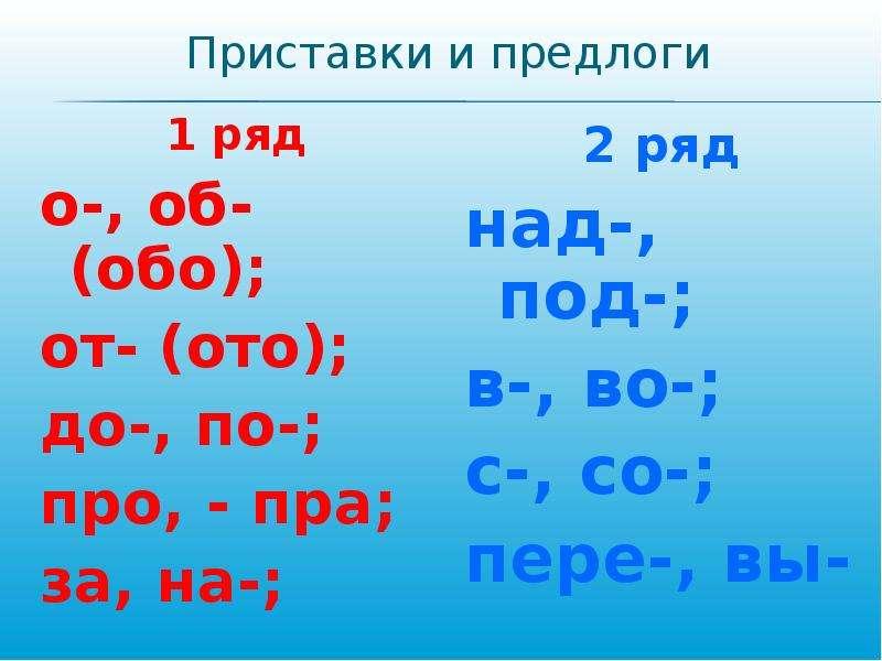 Приставки и предлоги 1 ряд о-, об-(обо); от- (ото); до-, по-; про, - пра; за, на-;