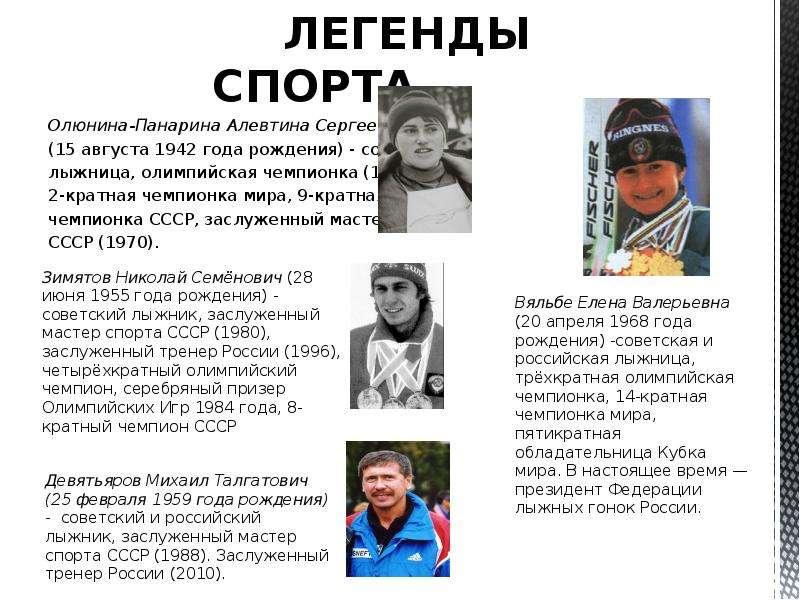 ЛЕГЕНДЫ СПОРТА ЛЕГЕНДЫ СПОРТА Олюнина-Панарина Алевтина Сергеевна (15 августа 1942 года рождения) -