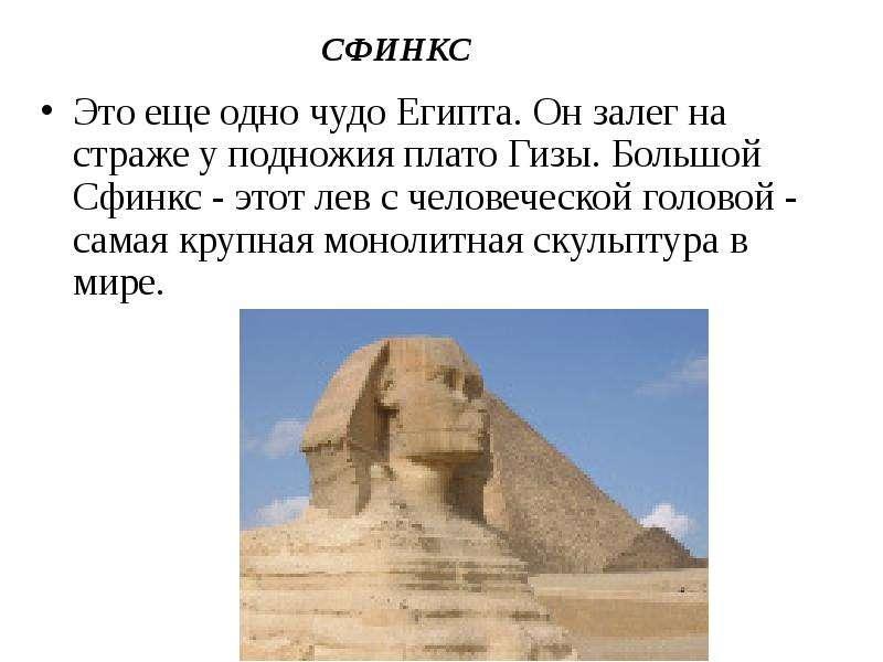 СФИНКС Это еще одно чудо Египта. Он залег на страже у подножия плато Гизы. Большой Сфинкс - этот лев