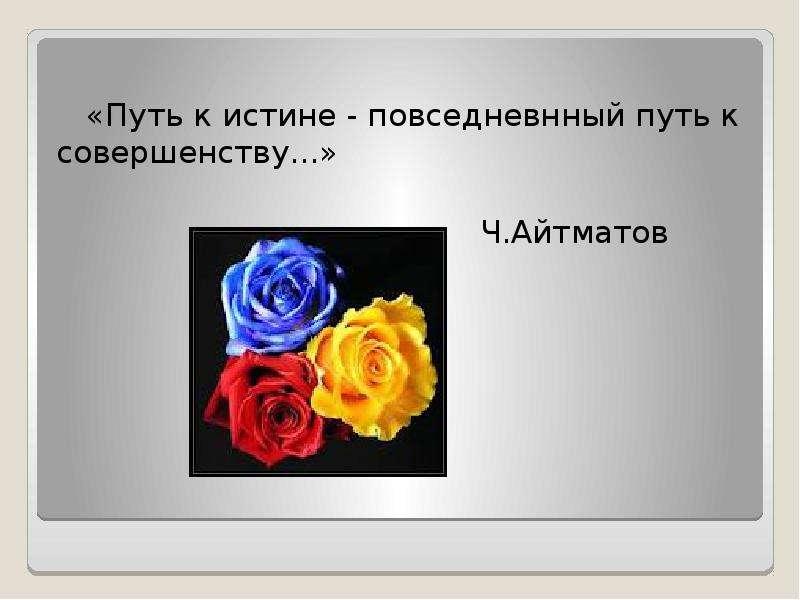 «Путь к истине - повседневнный путь к совершенству. . . » Ч. Айтматов