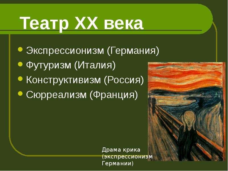 Презентация Театр ХХ века
