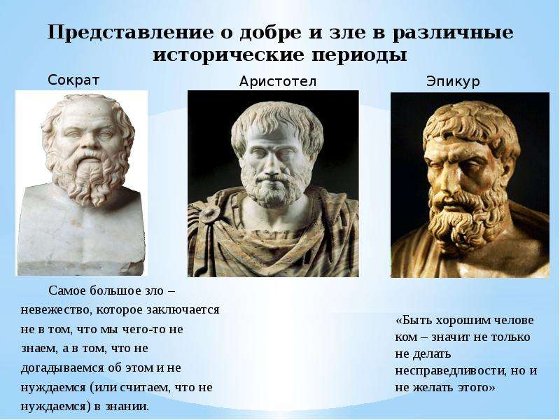 Представление о добре и зле в различные исторические периоды