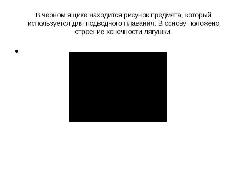 В черном ящике находится рисунок предмета, который используется для подводного плавания. В основу по