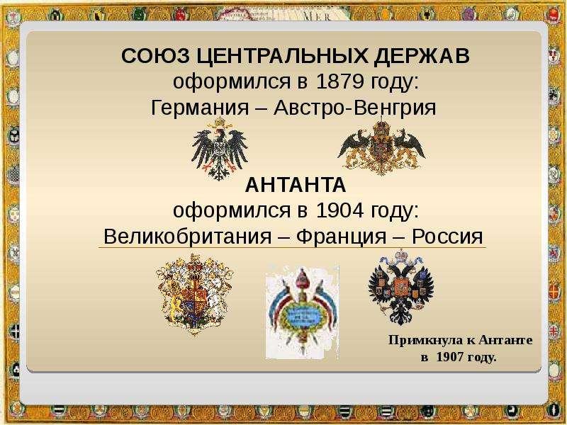 СОЮЗ ЦЕНТРАЛЬНЫХ ДЕРЖАВ СОЮЗ ЦЕНТРАЛЬНЫХ ДЕРЖАВ оформился в 1879 году: Германия – Австро-Венгрия АНТ