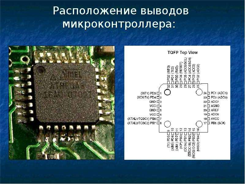 Расположение выводов микроконтроллера: