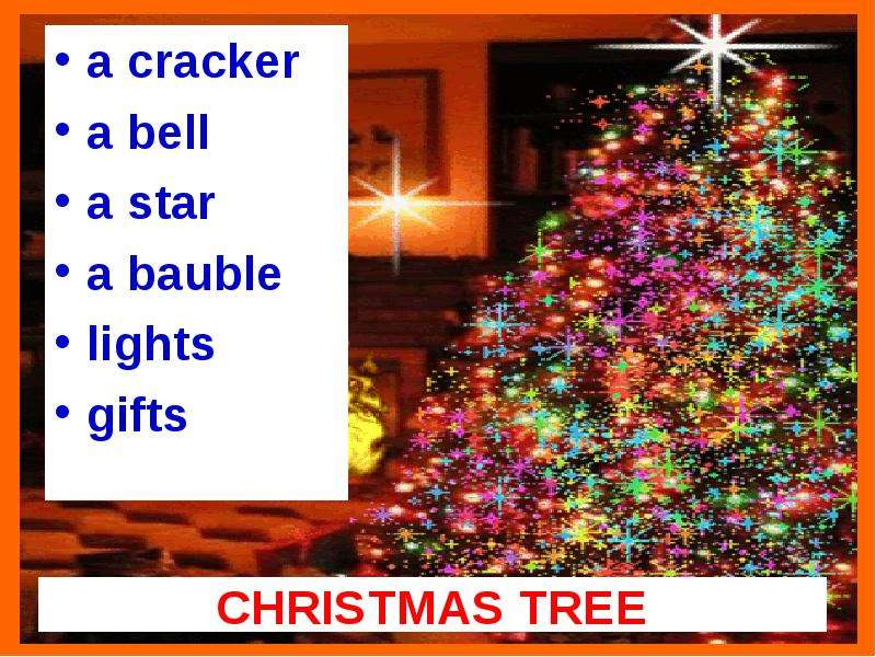CHRISTMAS TREE a cracker a bell a star a bauble lights gifts