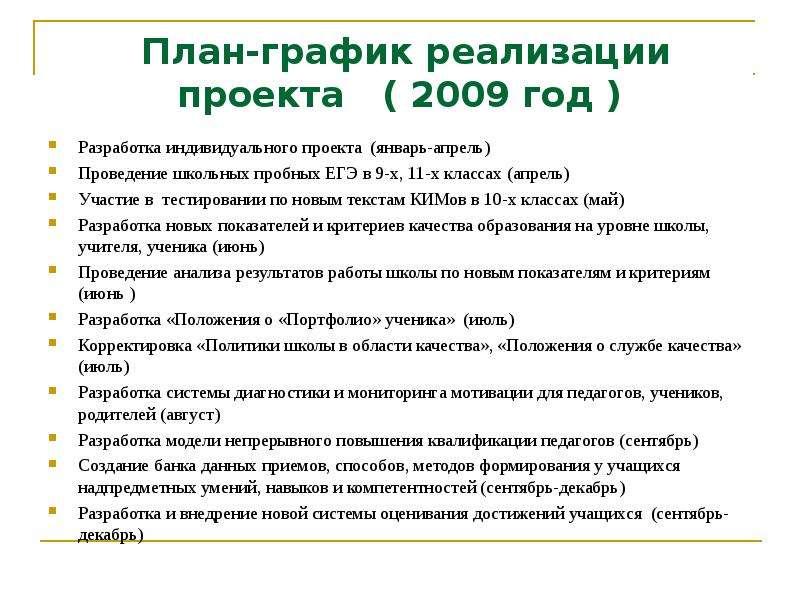 План-график реализации проекта ( 2009 год ) Разработка индивидуального проекта (январь-апрель) Прове