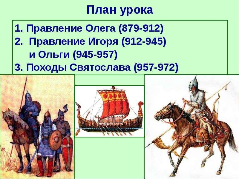 План урока 1. Правление Олега (879-912) 2. Правление Игоря (912-945) и Ольги (945-957) 3. Походы Свя