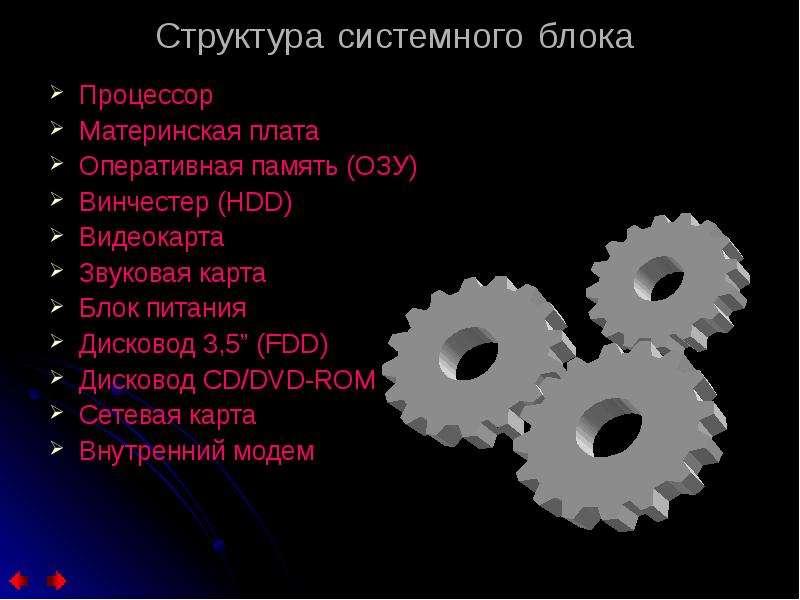 Структура системного блока Процессор Материнская плата Оперативная память (ОЗУ) Винчестер (HDD) Виде