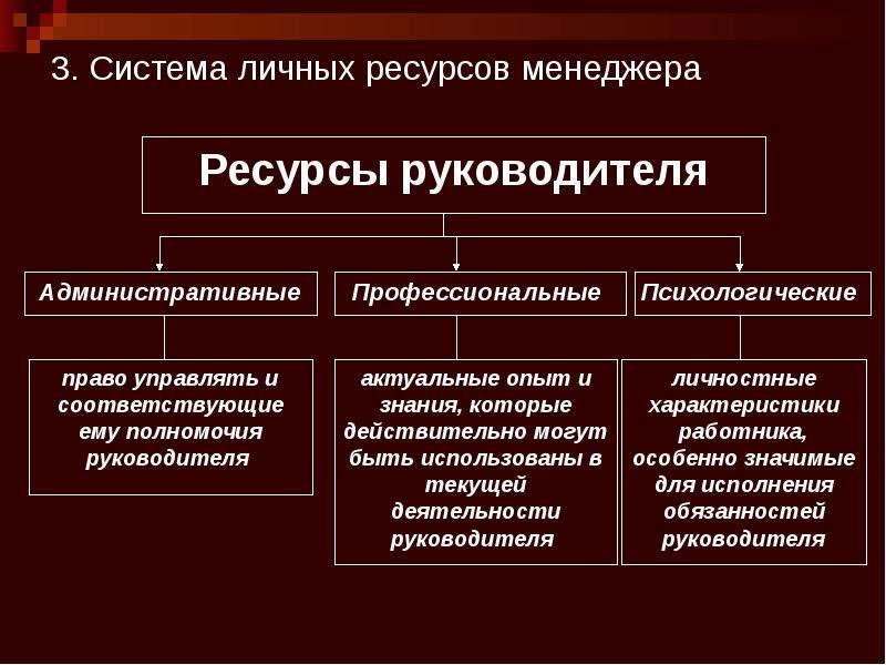 3. Система личных ресурсов менеджера