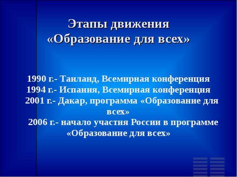 Этапы движения «Образование для всех» 1990 г. - Таиланд, Всемирная конференция 1994 г. - Испания, Вс