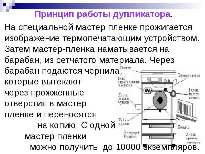 Принцип работы дупликатора. На специальной мастер пленке прожигается изображение термопечатающим уст