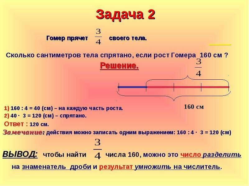 Задача 2 Гомер прячет своего тела. Сколько сантиметров тела спрятано, если рост Гомера 160 см ? Реше