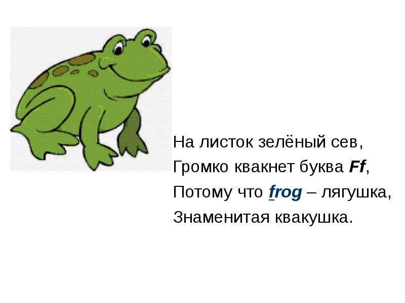 На листок зелёный сев, Громко квакнет буква Ff, Потому что frog – лягушка, Знаменитая квакушка.