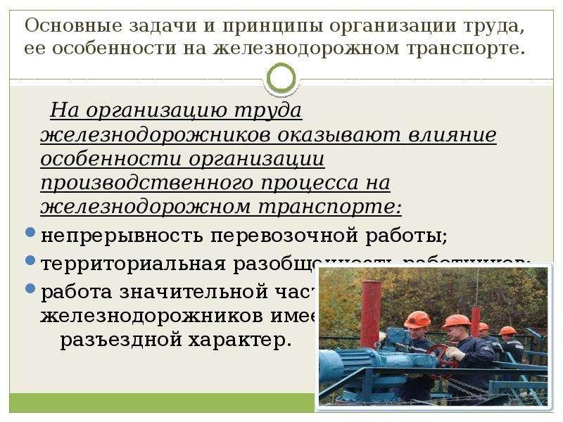 Основные задачи и принципы организации труда, ее особенности на железнодорожном транспорте. На орган