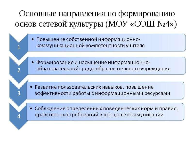 Основные направления по формированию основ сетевой культуры (МОУ «СОШ №4»)