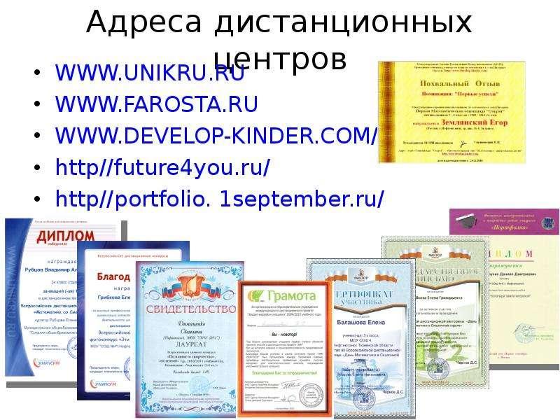 Адреса дистанционных центров http//future4you. ru/ http//portfolio. 1september. ru/