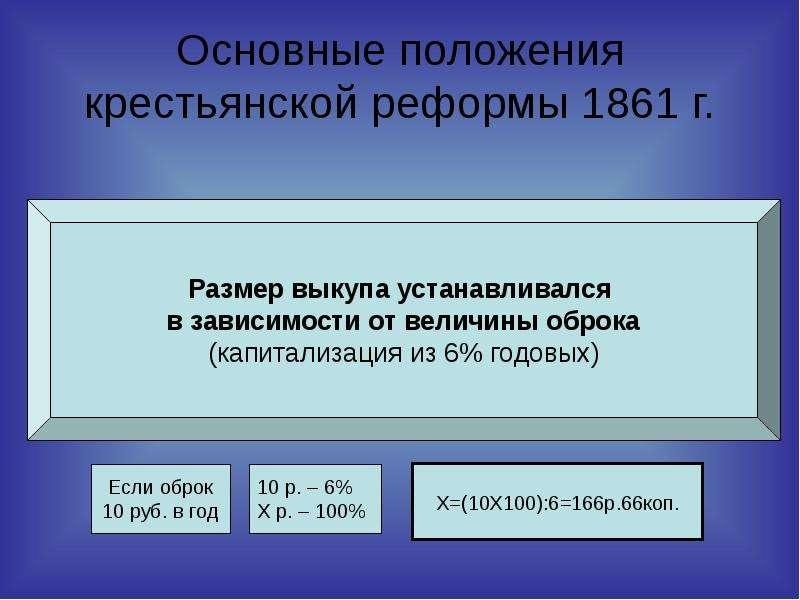 Основные положения крестьянской реформы 1861 г.