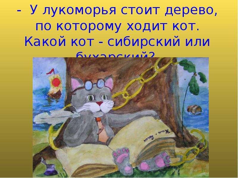 - У лукоморья стоит дерево, по которому ходит кот. Какой кот - сибирский или бухарский?